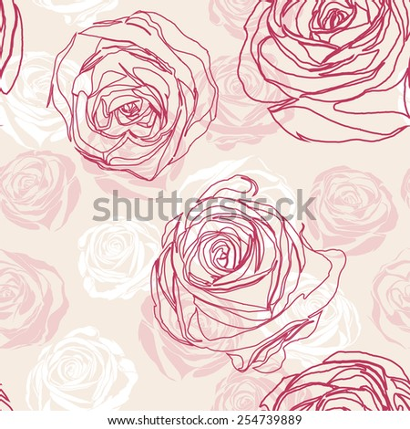 Vector pink inspired seamless floral pattern with roses - stock vector