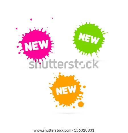 Vector Pink, Orange and Green Stickers - Stains With New Title - stock vector