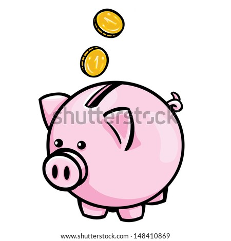 vector pink piggy bank - stock vector