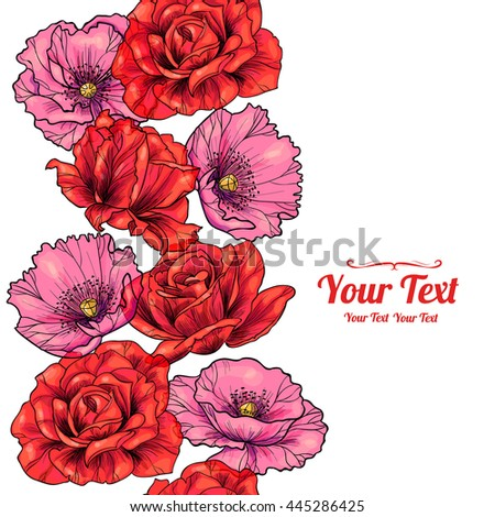 Vector  pink poppies and red roses vertical frame seamless pattern background . Invitation or greeting card design.Vector illustration