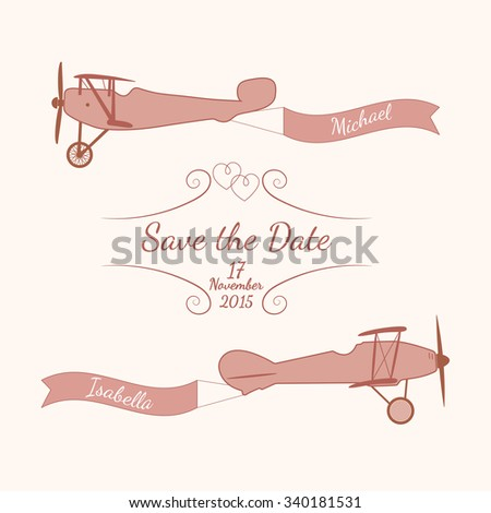 Vector pink retro planes with a wedding banner and names of newlyweds. Element for your wedding designs, valentine s day projects, and other your romantic projects. - stock vector
