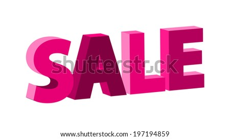 vector pink retro sale sign with 3D effect