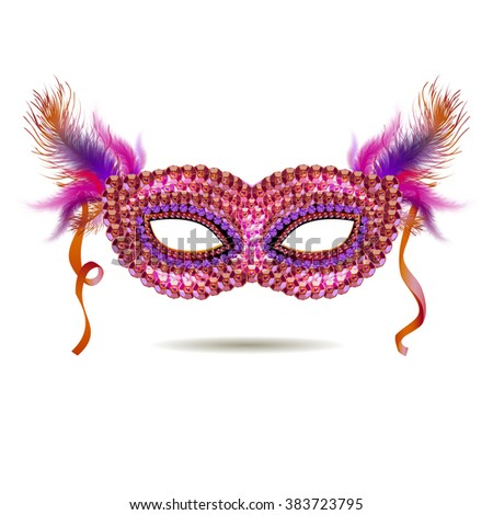 Vector pink venetian carnival mask with feathers. EPS - stock vector