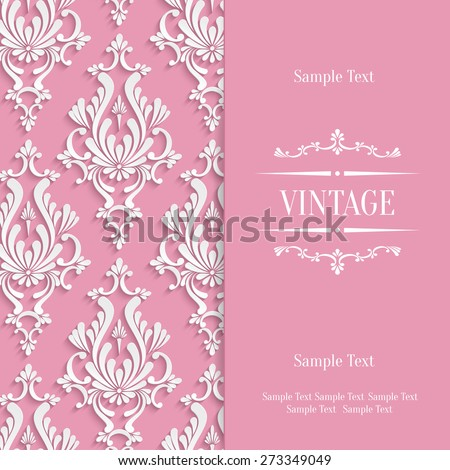 Vector Pink Vintage Background with 3d Floral Damask Pattern Template - stock vector