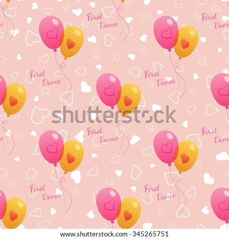 Vector pink wedding seamless pattern with dancing bright balloons. Element for your wedding designs, valentines day projects, and other your romantic projects. - stock vector