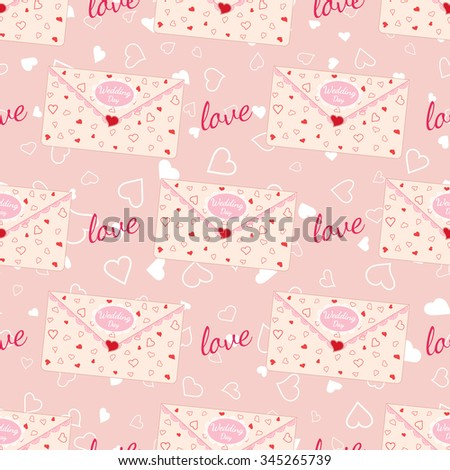 Vector pink wedding seamless pattern with letter decorated with lace and texture of hearts. Element for your wedding designs, valentines day projects, and other your romantic projects. - stock vector