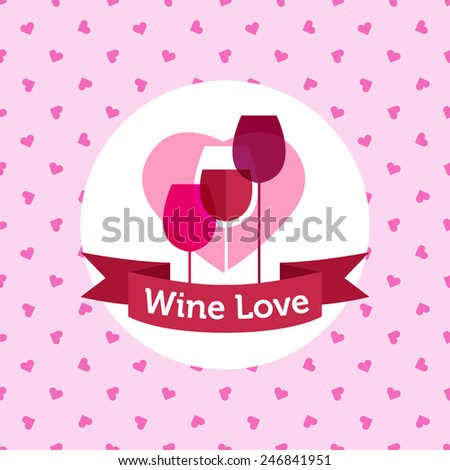 Vector pink wine shop or bar logo design with hearts seamless pattern - stock vector