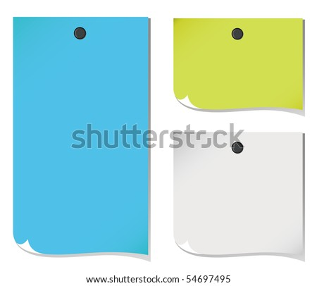 VECTOR Pinned Note Paper - stock vector