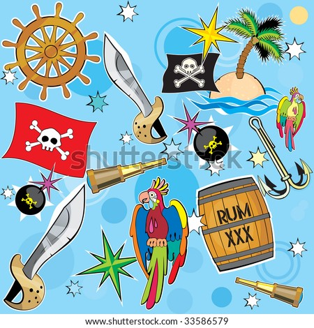 Vector Pirate background with all pirate attribute - stock vector