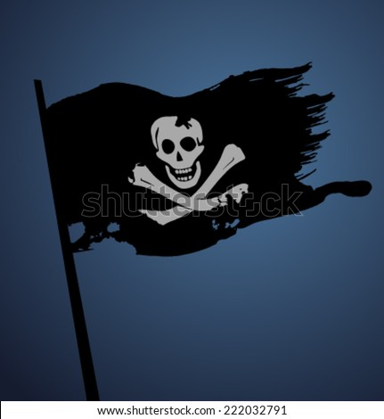 Vector pirate flag - stock vector