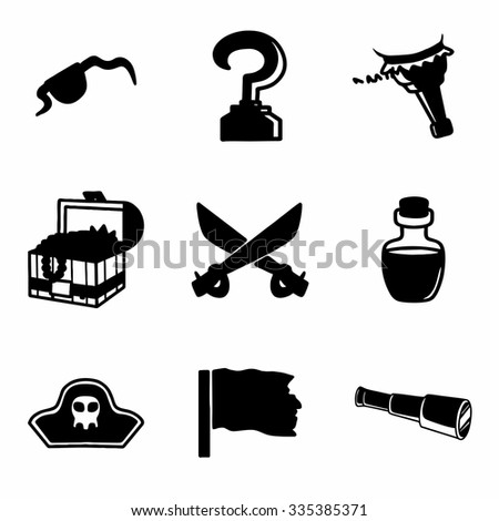 Vector Pirate icon set on white background - stock vector