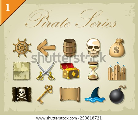 Vector pirate icons - stock vector