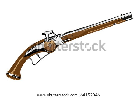Vector pistol XVII century on white background