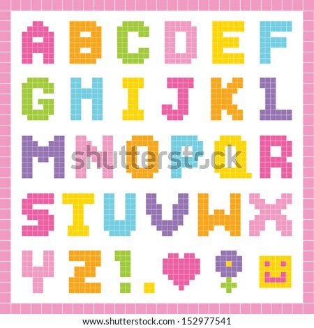 Vector pixel art alphabet set in pretty colors, isolated on white. Good for scrap-booking, school projects, posters, textiles. See my folio for JPEG version and for other colors.