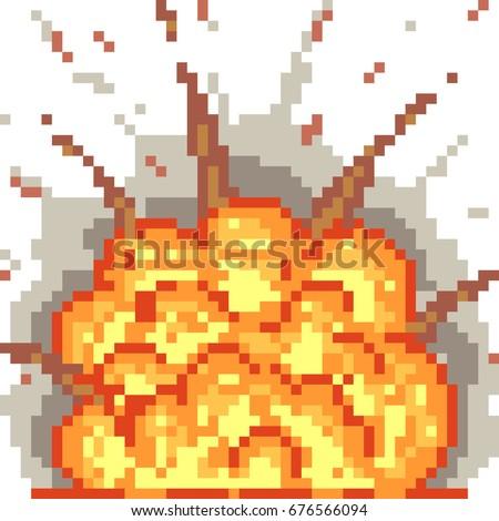 vector pixel art blast isolated 676566094 shutterstock. Black Bedroom Furniture Sets. Home Design Ideas
