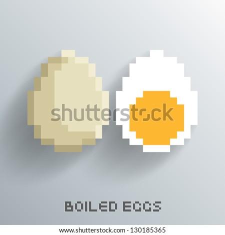 Vector Pixel Art Boiled Egg Design - stock vector