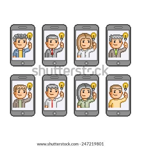 Vector pixel art set. People communicate on smartphones. Great idea. - stock vector