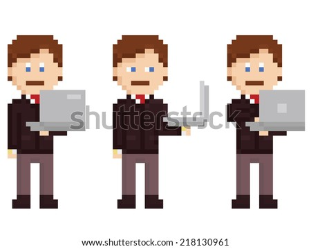 vector pixel art set - person holding laptop - stock vector