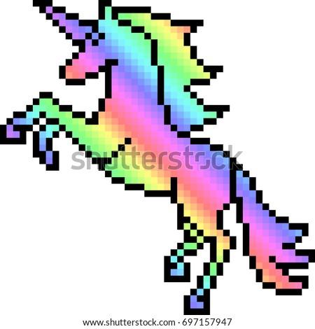 Vector Pixel Art Unicorn Isolated Stock Vector 697157947