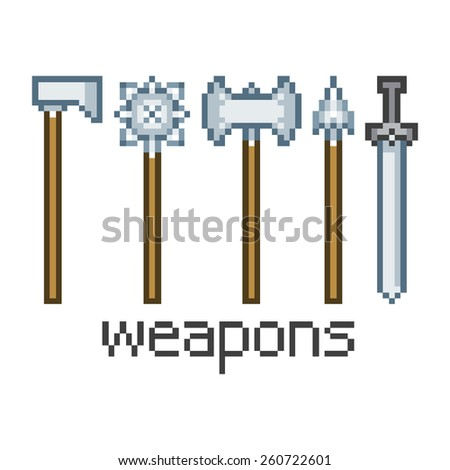 Vector pixel art weapons - stock vector