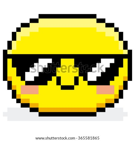 Vector Pixel Cartoon Face With Sunglasses  - stock vector