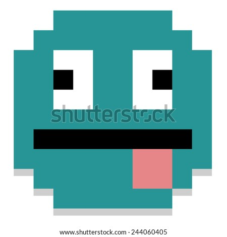 Vector Pixel Cartoon Face With Tongue Out - stock vector