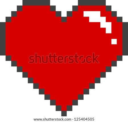 vector pixel heart - Separate layers for easy editing - stock vector