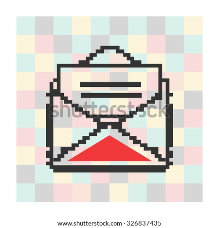Vector pixel icon  letter and envelope on a square background. - stock vector