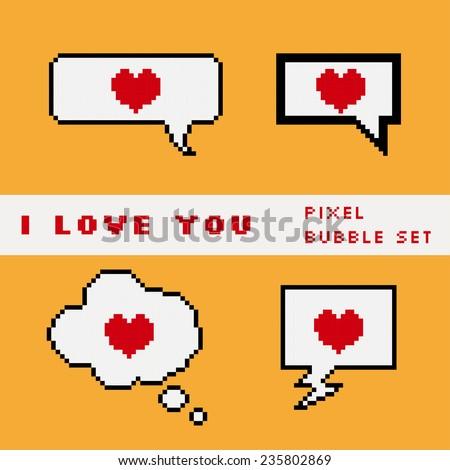 Vector pixel speech bubble set with hearts - stock vector