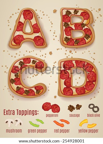 Vector Pizza alphabet.  Hand drawn letters made to look like pizza letters A through D - stock vector