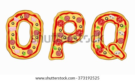 Vector Pizza alphabet .Letters O,P,Q.Hand drawn letters are made of different varieties of pizza. - stock vector