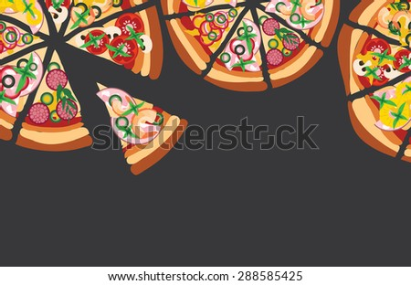 Vector pizza background with copy space for text - stock vector