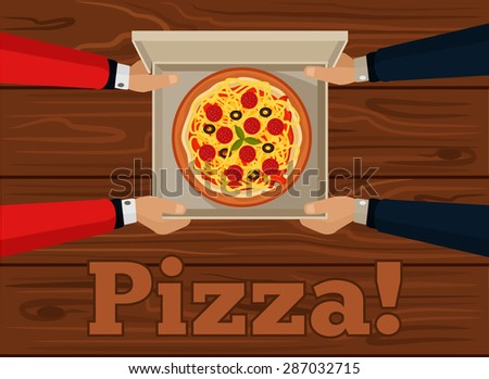 Vector pizza flat illustration - stock vector