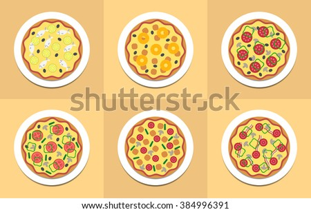 Vector pizza illustration set