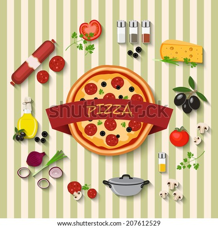 vector pizza label and flat style icons set - stock vector