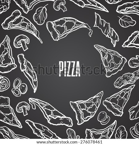 Vector Pizza Menu Background For Bar And Restaurants Chalkboard Italian Cuisine