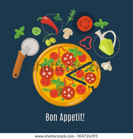 Vector pizza poster. Pizza infographic. Pizza ingredients.  - stock vector