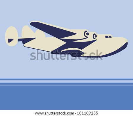 Vector plane flying in the sky over the sea - stock vector