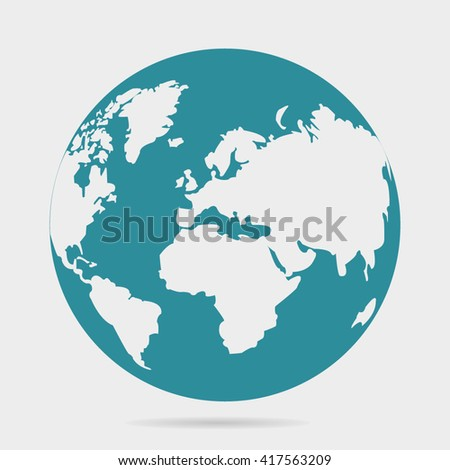 Vector planet Earth icon. Flat planet Earth icon. Flat design vector illustration for web banner, web and mobile, infographics. Vector Earth icon graphic. Vector icon isolated on gradient background  - stock vector