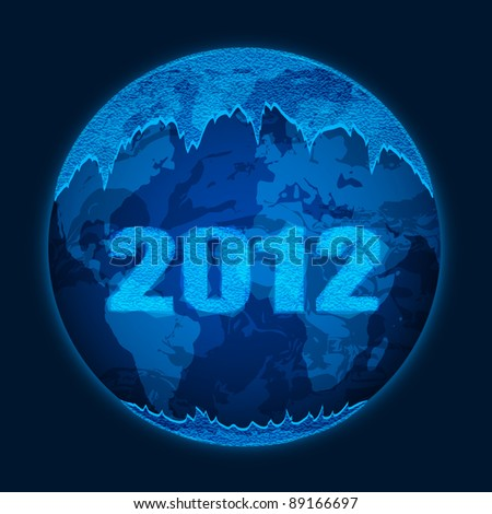 Vector planet Earth is covered with ice from the ice with the inscription of numbers in 2012 - stock vector