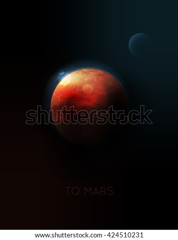 vector planet Mars in space