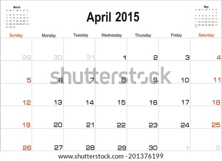 Vector planning calendar April 2015 - stock vector