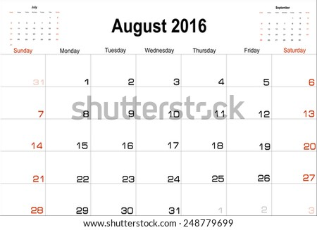 Vector planning calendar  August 2016 - stock vector