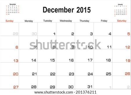 Vector planning calendar December 2015 - stock vector