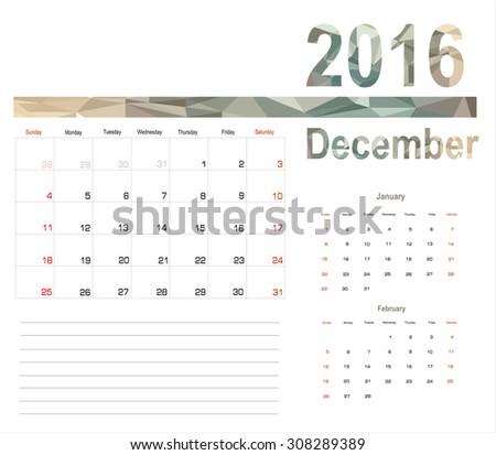 Vector planning calendar December 2016 - stock vector