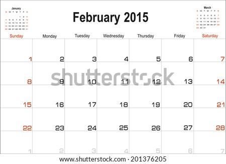 Vector planning calendar February 2015 - stock vector