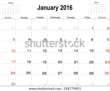 Vector planning calendar  January 2016 - stock vector