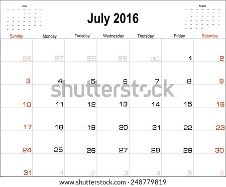 Vector planning calendar  July 2016 - stock vector