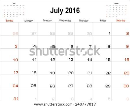 free july calendar