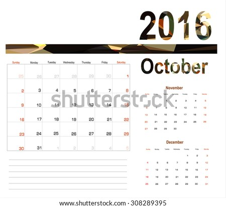 Vector planning calendar October 2016 - stock vector